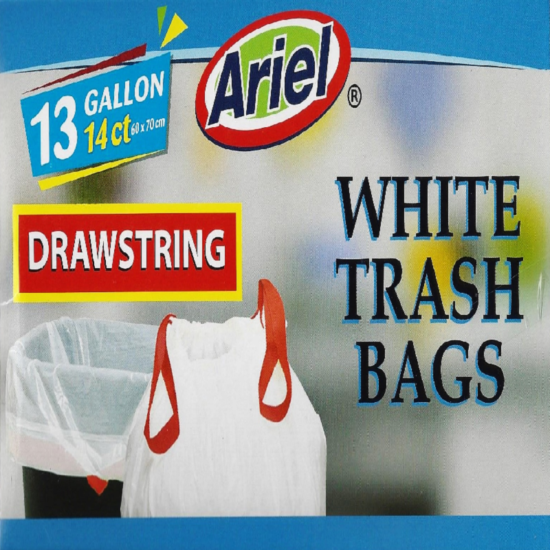 Ariel 13 Gallon White Trash Bag 14ct