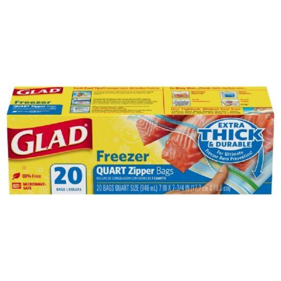 Glad Zipper Freezer Qt Bag 20ct