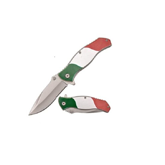 8'' SPRING ASSISTED FOLDING KNIFE MEXICAN FLAG HANDLE