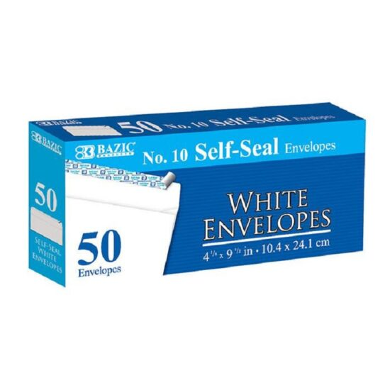 BAZIC #10 SELF SEAL WHITE ENVELOPE