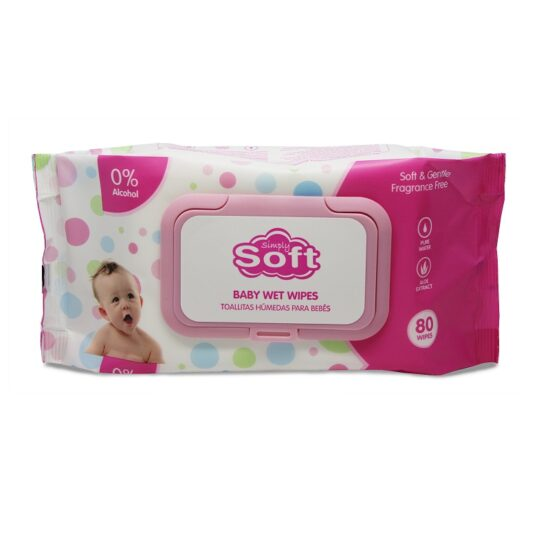 Simply Soft Pink Baby Wipes 80ct