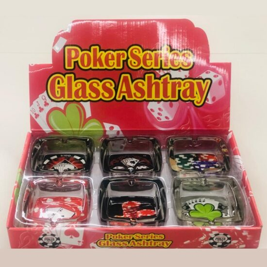 Poker Series Glass Ashtray 6ct