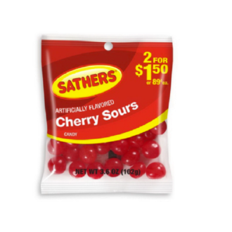 Sathers Cherry Sour 2 For $1.50 3.6oz 12ct