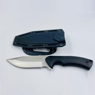 9'' Fixed Blade Full Tang Knife W/Plastic Clip In Sheath