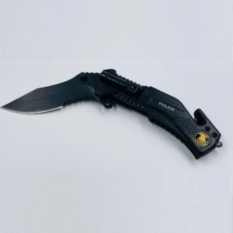 T102003BK 8'' Spring Assist Knife + Led Light 3 1/2 '' Blade -Police
