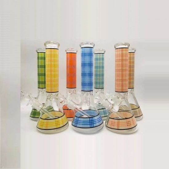14'' Classic Vintage Strips Glass Water Bong